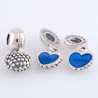 Mother&son dangle Charms 925 Sterling Silver Jewelry Blue enamel Fits European Pandora style charm bracelets&bangles diy making
