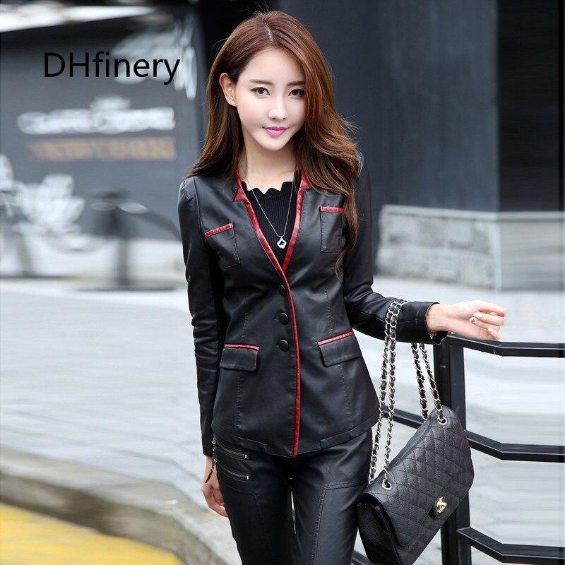 dámská PU kožená bunda jaro a podzim oblek límec štíhlé dámské černé motocyklové kožené bundy plus velikost M-5XL 928
