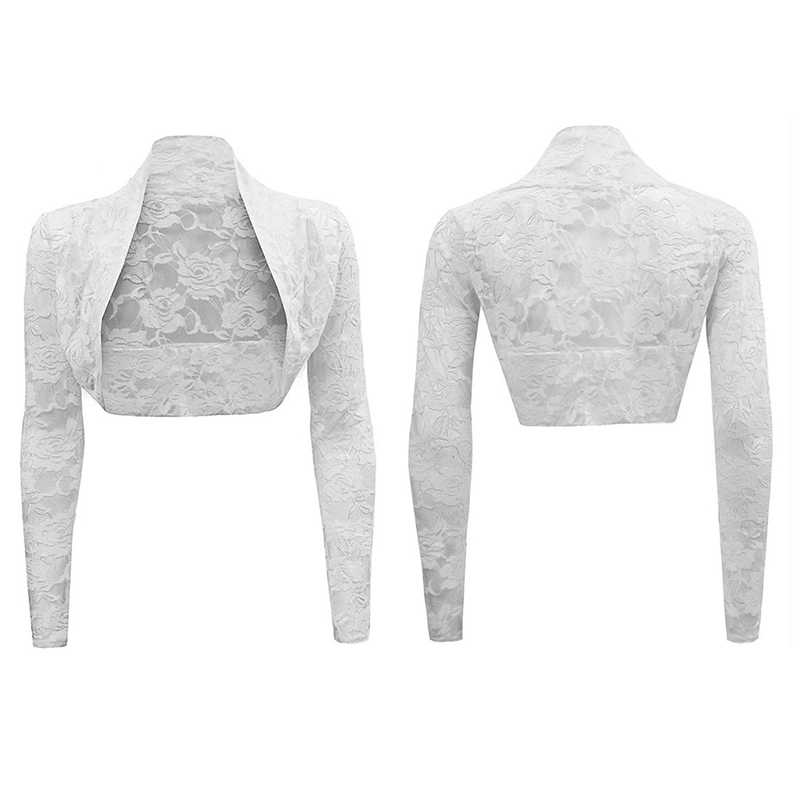 2018 Women Elegant Lace Solid Cardigan Casual Long Sleeve Crop Knit Bolero Shrug Cardigan Open Stitch Short Shawl Wrap Coat