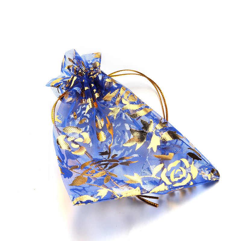 100 pz/lotto 7X9cm 9X12cm 11X16cm 13X18cm Oro Amore cuore di Rosa Sacchetto di Organza Caramella di Cerimonia Nuziale del Regalo di Natale Borse di Imballaggio Dei Monili