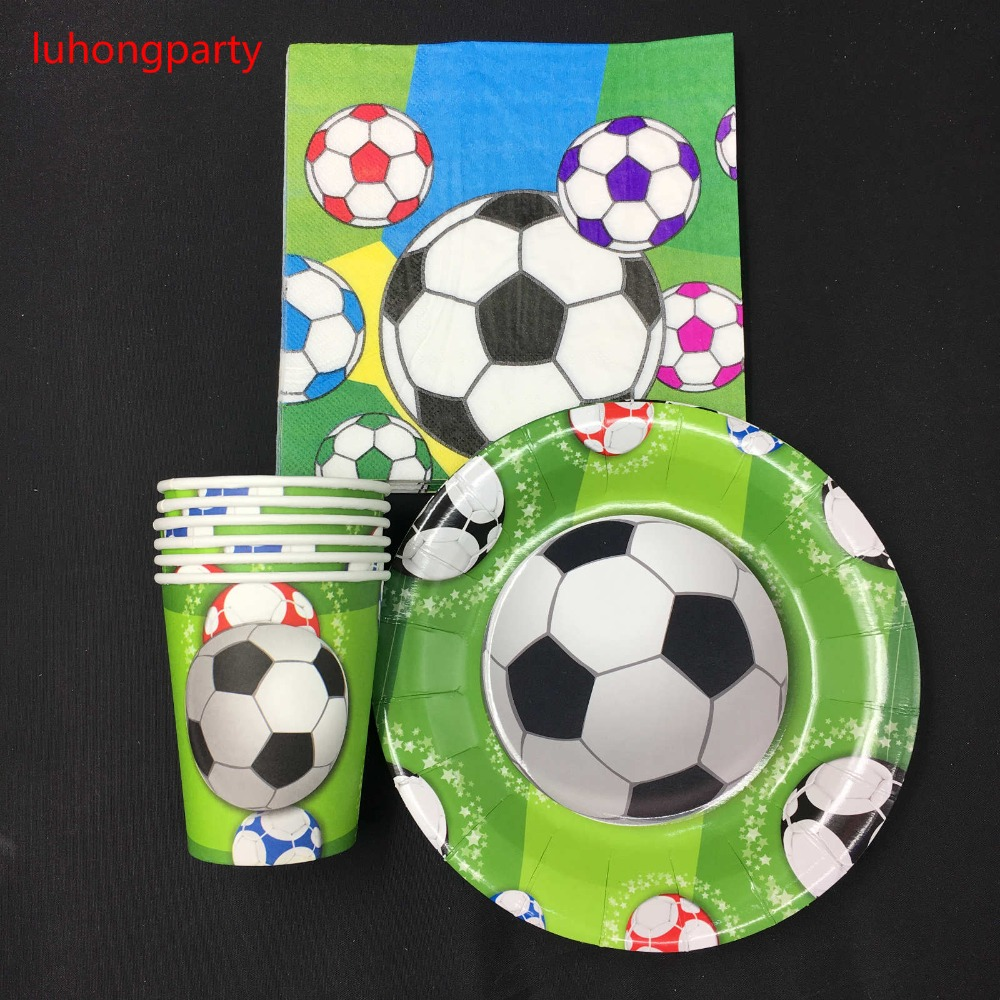Football theme 20pcs paper cups+ plates+20pcs Napkins for Children Kids Birthday Party Decoration