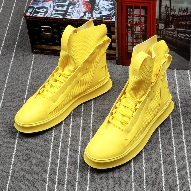 CuddlyIIPanda Brand Men Fashion Casual Shoes Autumn Winter Men Shoes Male High Top Botas Hombre Men Leisure Yellow Hip-hop Boots