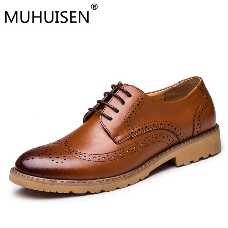 MUHUISEN Brand Men Flats Brogues Oxford Shoes British Style Fashion Genuine Leather Casual Business Shoes For Male 38-44 eur beau today brand retro british style 2017 women low heel genuine leather casual brogues wingtip oxford shoes black blue brown
