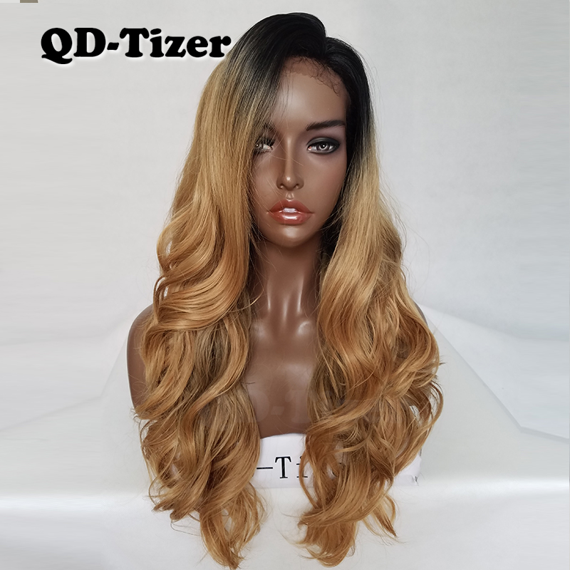 QD Tizer Blonde Ombre Hair Long Body Wave Synthetic Lace Front Wigs Glueless with Baby Hair