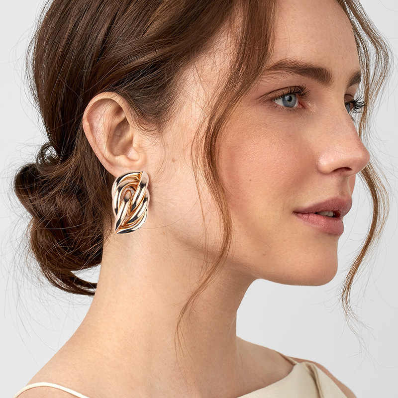 Big Stud Statement Earrings For Women Girl Gold Silver Color Geometric Earrings Pendant Party Bride Earings Fashion Jewelry 2019