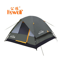2019 Hewolf top quality 3 4 person 2 layer fiber glass rod waterproof windproof bivvy hiking beach fishing outdoor camping tent
