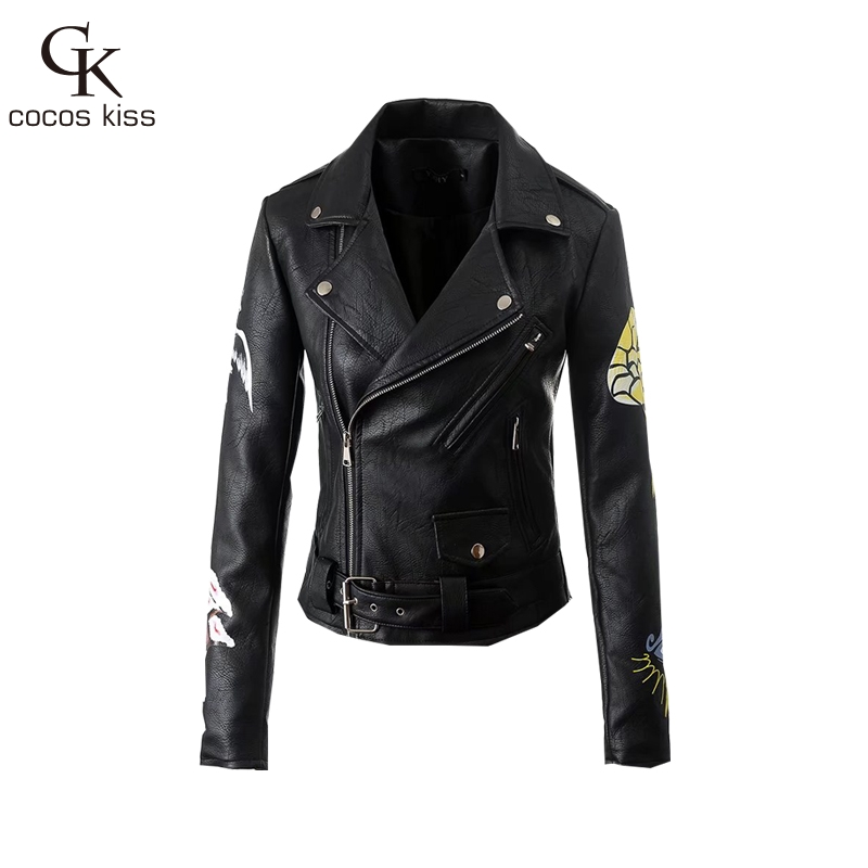 2017 New Autumn Print Animal Flower Balck Women Jacket Zippers Sashes Cool Slim Sexy Hig ...