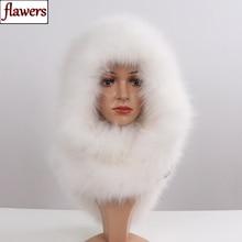 Sombrero de piel de zorro y 100% para mujer, sombrero de piel de zorro y bufandas, cálidas y mullidas, auténtico, de lujo, con pelo y silenciadores
