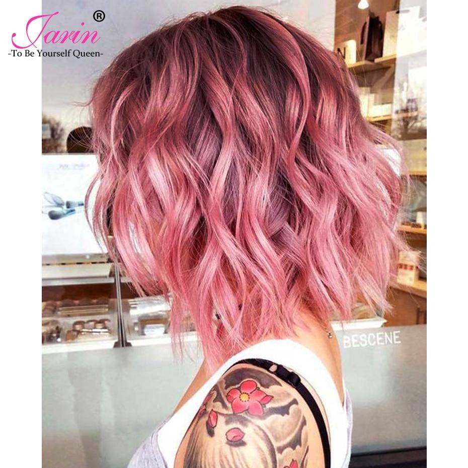 Jarin Short Bob 1B Pink Brazilian Body Wave 3 Bundles 100 Human Hair Weave Bundle Ombre