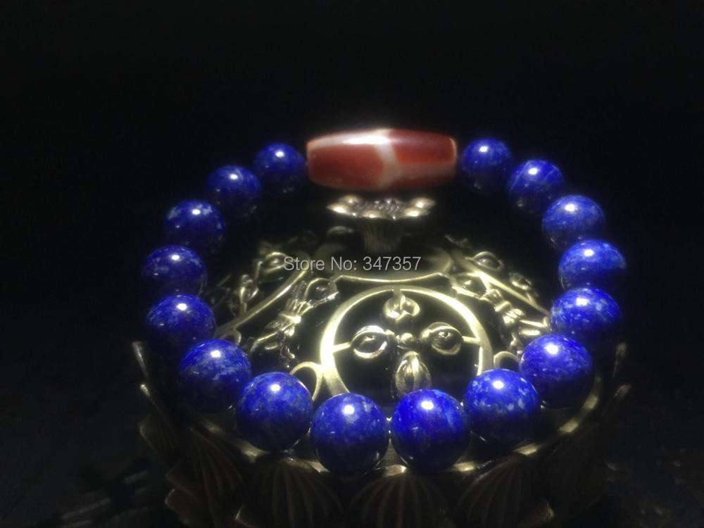 100% natural lapis lazuli 10mm ball agate red DZI string bracelet men&women jewelry Big men lotus and other patterns optional ethnic wind bracelets men and women decorations green agate 925 silver ball duobao string original jewelry