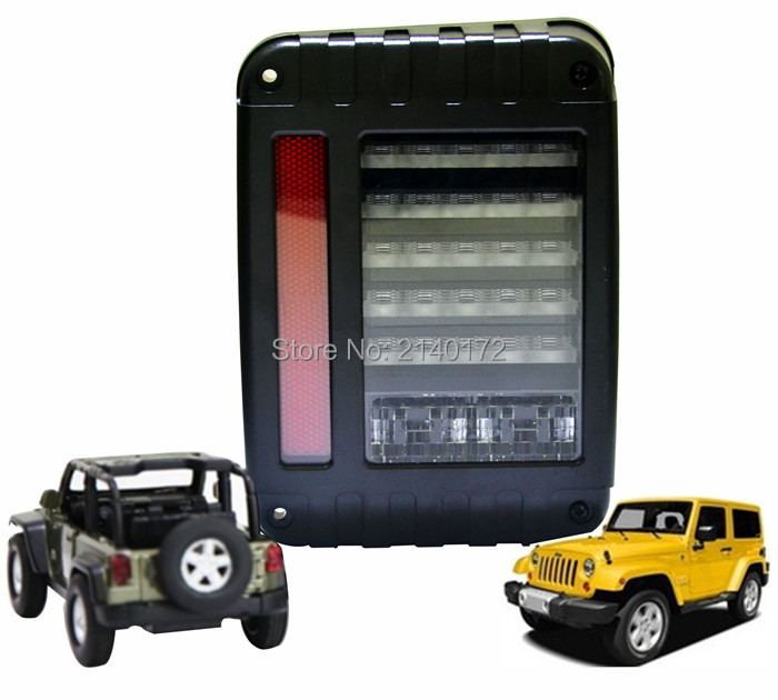 LED tail light Brake/Reverse/Parking stop Rear lamp with Turn signal Daytime Running lights for 07-15 Wrangler 4WD JK 1 x t25 3157 50w led car auto signal brake stop tail light bulb signal lamp white external lights