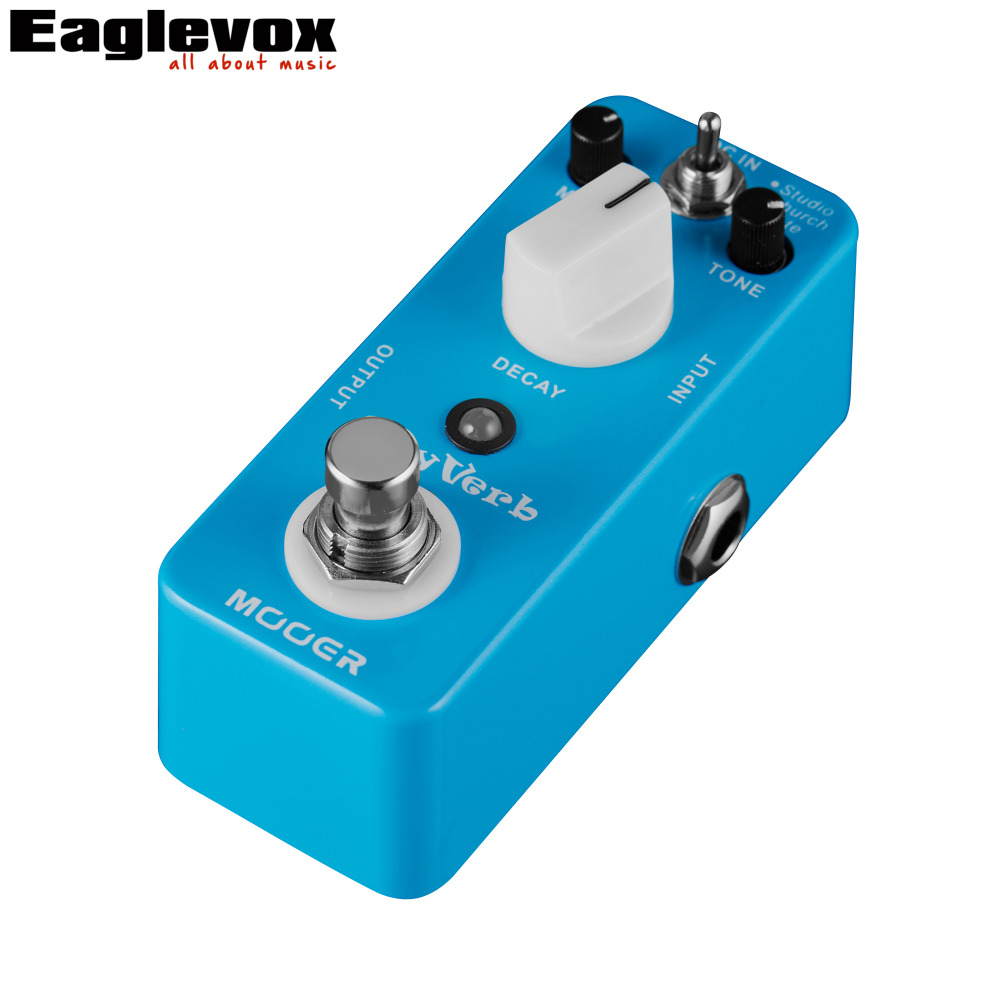 Mooer Sky Verb Digital Reverb Electric Guitar Effects Pedal True Bypass Studio Church Plate Modes joyo jf 317 space verb digital reverb mini electric guitar effect pedal with knob guard true bypass