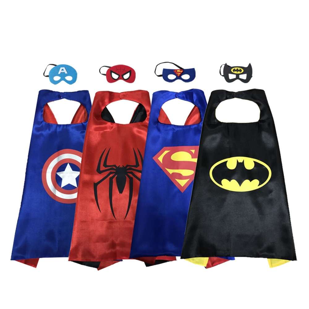 Magiczone 70*70cm Superhero capes masks set Kids cosplay costumes Halloween Christmas Party favor gift capes for kids 4sets/pack