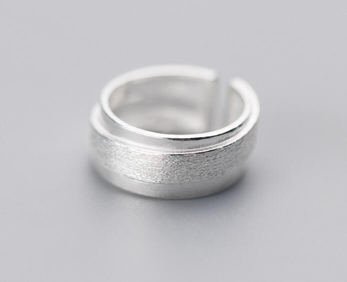 100% Real.925 Sterling Silber Edlen Schmuck Multi-rows Geometrische Lange Breiter Ring Gtlj1394 Geschickte Herstellung