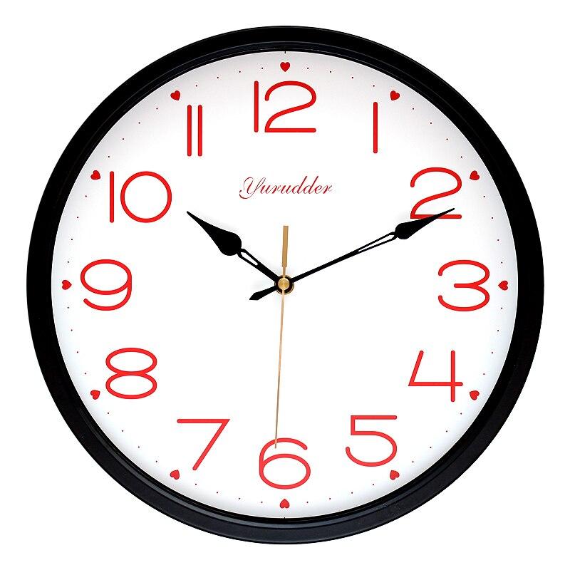 Nejnovější 12 palců kovový rám módní sladké srdce design lady láska černé ruce kulaté nástěnné hodiny dekorativní nástěnné hodiny