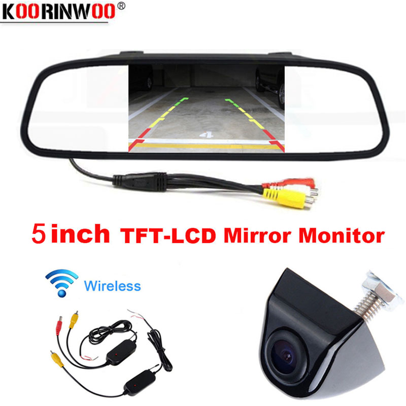 Koorinwoo Wireless High Resolution 5 Inch Rear View Car Interior Mirror Monitor+parking Assistance Rearview Camera 2 Video Input