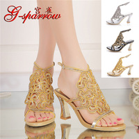 Summer Women's Bohemian Rhinestone Sandals Diamond Sexy Stiletto Sandal Discount Ladies Leather Shoes Gold Purple Silver Black