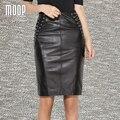 Cuero genuino negro empalmado de piel de oveja de cuero falda lápiz faldas mujeres sexy cruz strape decoración faldas jupe saia etek LT1119