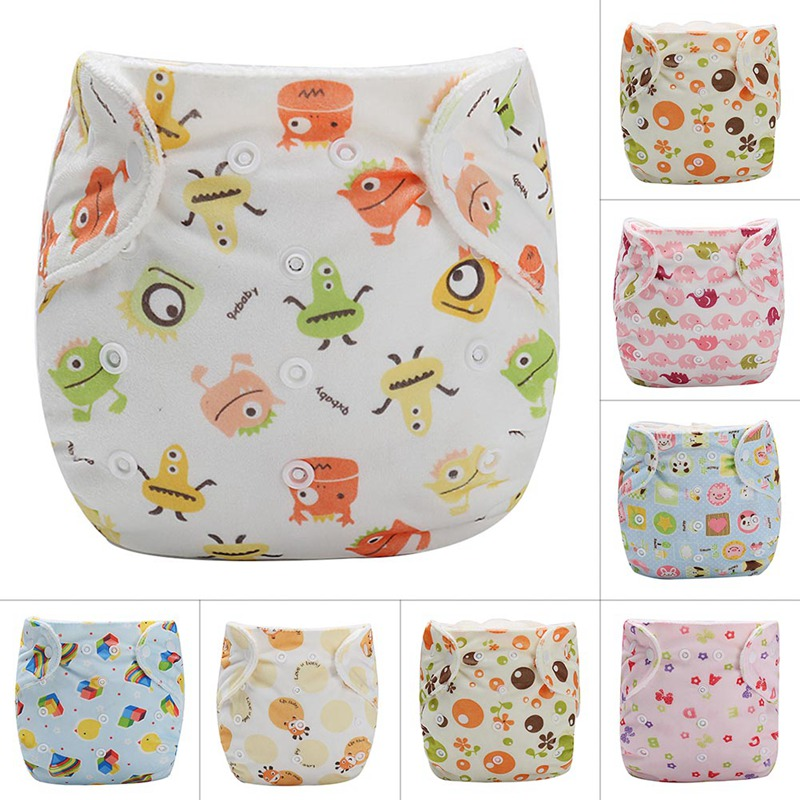 Autumn Winter Baby Newborn Velvet Diapers Cartoon Pattern Cute Soft Waterproof Diaper Pocket Nappies Fit For 5-13kgs Baby