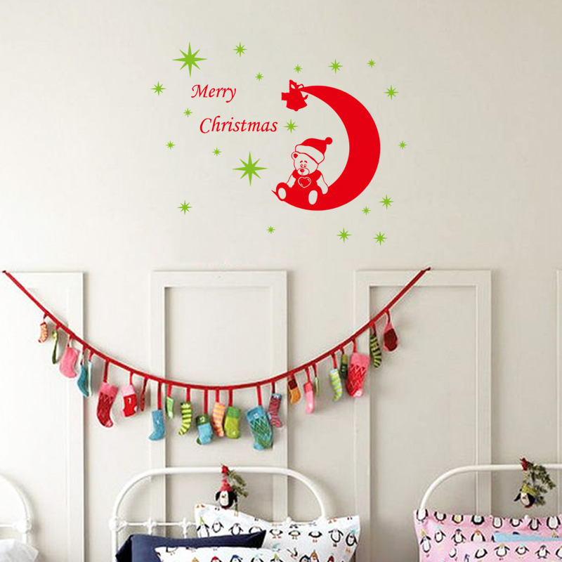 Cartoon Bear Merry Christmas Wall Decor Stickers Stars Moon - Christmas wall decals removable