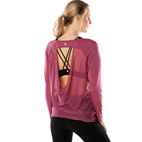 Women's Active Open Back Long Sleeve Mesh Workout Yoga Sports T shirt Athletic Running Gym Tops
