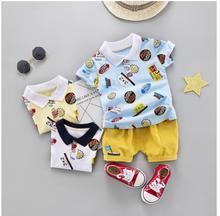 купить 2019 Summer Baby Girls Clothing Sets Toddler Infant Clothes Suits  Cartoon  T Shirt Shorts Kids Children Casual Suit по цене 545.13 рублей