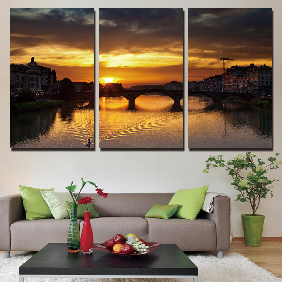 Direct Selling 3 Panels Canvas Art Evening Sunset City Home Decoration Unframed Wall Painting Prints Pictures For Living Room