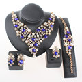 African Jewelry Set  Gold Plated Pearl Blue/Brown Austrian Crystal Women Wedding Necklace Bracelet Earring Ring Sets