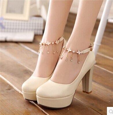 zapatos ocupacionales cadena de metal de color beige boda zapatos de