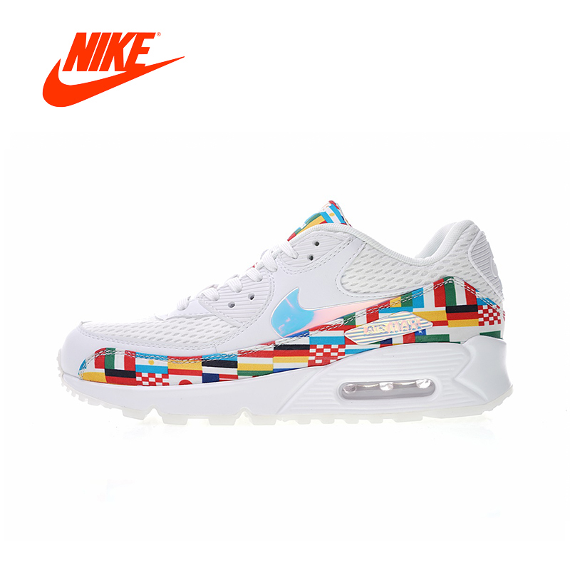 Original Nouvelle Arrivée Authentique Nike Air Max 90 NIC QS International Drapeau Hommes Chaussures de Course de Sport En Plein Air Sneakers AO5119-100