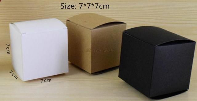 50pcs/lot 7*7*7cm Blank White Black Kraft Gift Box For