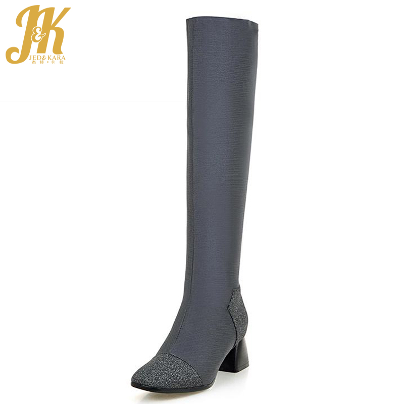 Fashion 2017 High Quality Slip On Knee High Boots Patchwork Add Fur Fall Winter Boots Hoof Med Heels Square Toe Women Shoes 2017 size 34 42 comfort thick med heels women boots add fur high quality knee high fall winter boots platform casual shoes woman