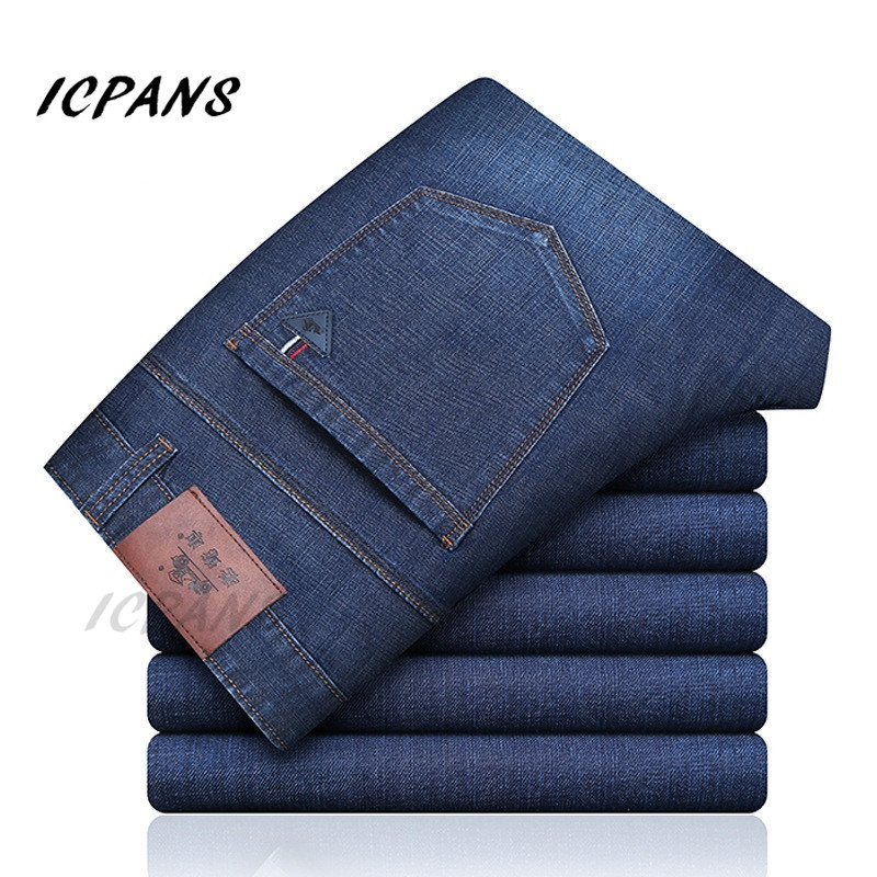 ICPANS Denim   Jeans   Men Stretch Clasic Basic Black Mens   Jeans   Regular Fit Casual Pants Male   Jeans   homme 2019 Autumn Big Sizes 42
