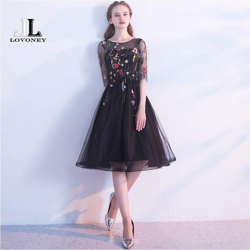 LOVONEY Sexy Backless Short Evening Dress Embroidery Half Sleeve Formal Dress Prom Party Dress Evening Gown Robe De Soiree YM306