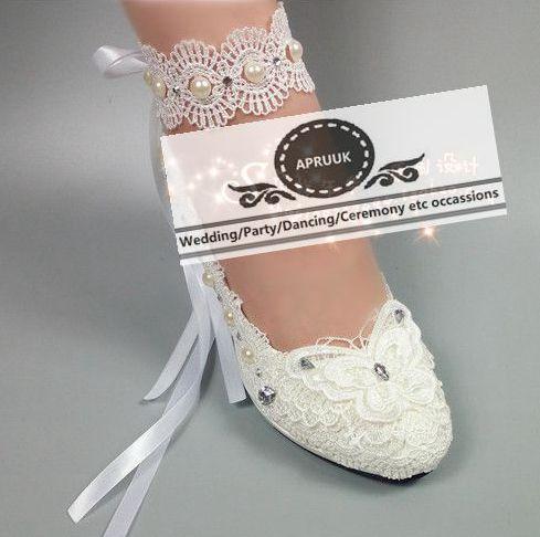 Ivoire mariage chaussures dentelle cheville ruban riband décoration HS372 cheville sexy ivoire dentelle perles mariée mariées mariée grande taille pompe