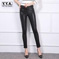 New Luxury Fashion 2018 Autumn Womens Pants Sheepskin Elastic Genuine Leather Full Pants Leggings Female Sexy