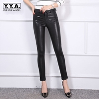 New Luxury Fashion 2018 Autumn Womens Pants Sheepskin Elastic Genuine Leather Full Pants Leggings Female Sexy