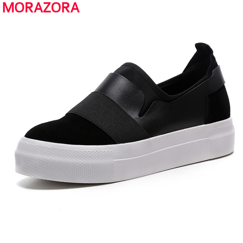 MORAZORA 2018 New Flats Ladies Platform Shoes Fashion Women Sneakers Casual slip on genuine leather Socks Shoes