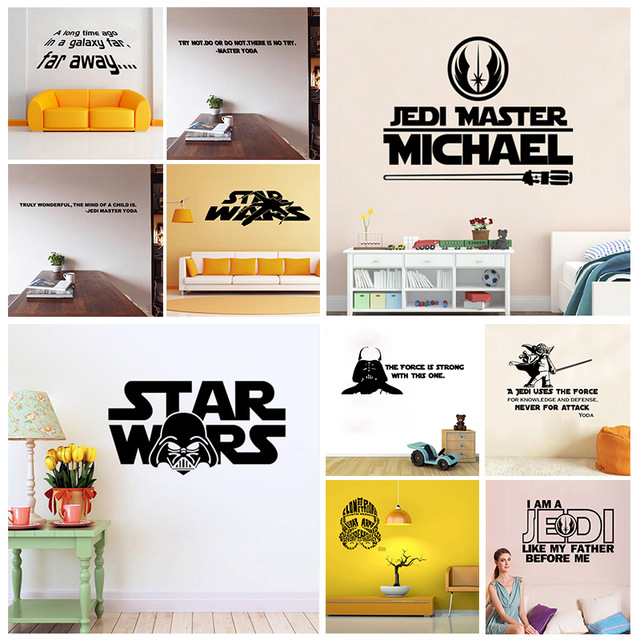Death Star Wars Poster Wall Stickers Movie Master Personalized Name Wall Art Sticker Decal Home DIY Decoration Wall Mural Remova