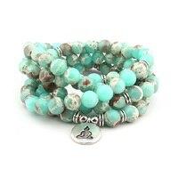 Diseño de moda 108 Encanto de Buda Collar de Mala de La Pulsera de plata de Las Mujeres Yoga Equilibrio Joyería Mejor Regalo