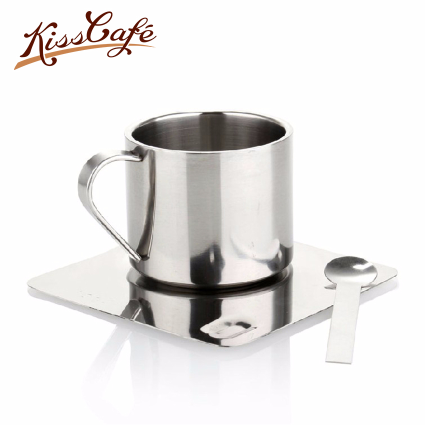 100ml Double Stainless Steel Coffee Mug and Saucer Set Insulation Cup with Spoon Tea Water New With Handle