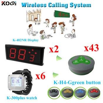 Restaurant Waiter Call Systems Hot Sale 2pcs Screen Receiver 6 pcs Wrist Pager 43 pcs Call Bell Buttons
