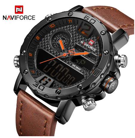 NAVIFORCE Роскошные брендовые кожаные мужские спортивные часы военные мужские кварцевые наручные часы светодиодный цифровые часы водонепрони...