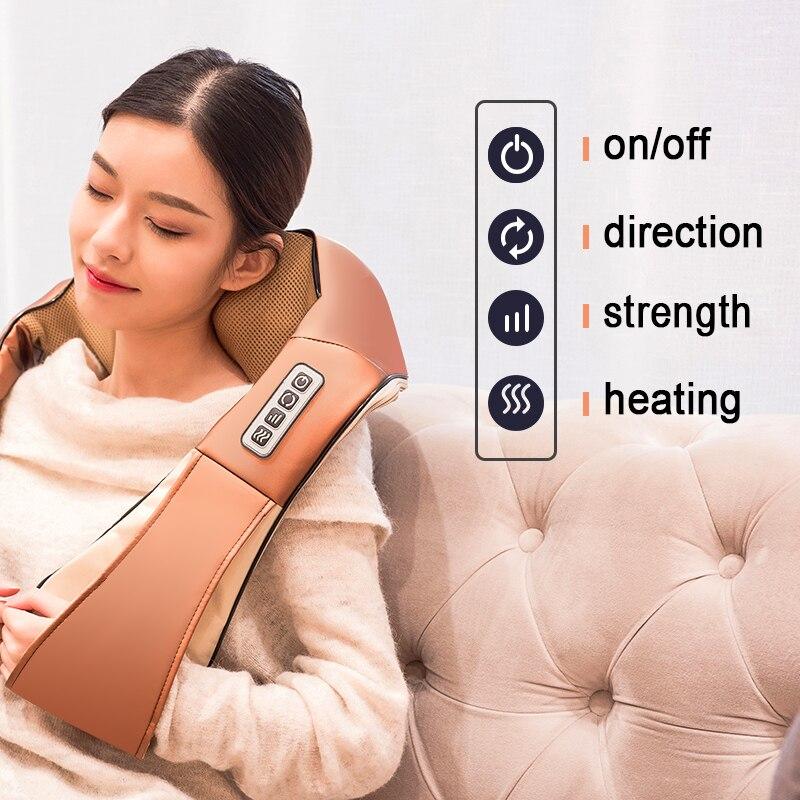 LaGuerir Hause Auto U Form Elektrische Shiatsu Nacken Schulter Körper Massager Infrarot Beheizten Kneten Auto/Home Massagem