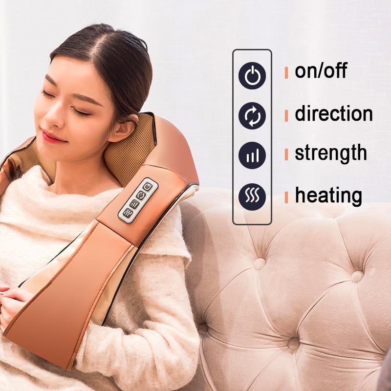 LaGuerir Home Car U Shape Electrical Shiatsu Back Neck Shoulder Body Massager Infrared Heated Kneading Car