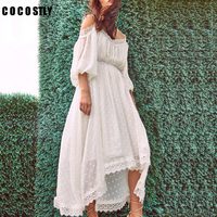 High Quality White Lace Long Beach Dress Spagetti Strap Crochet Polka Dot Embroidery Sexy Boho Maxi Dress 2018 Summer Dress