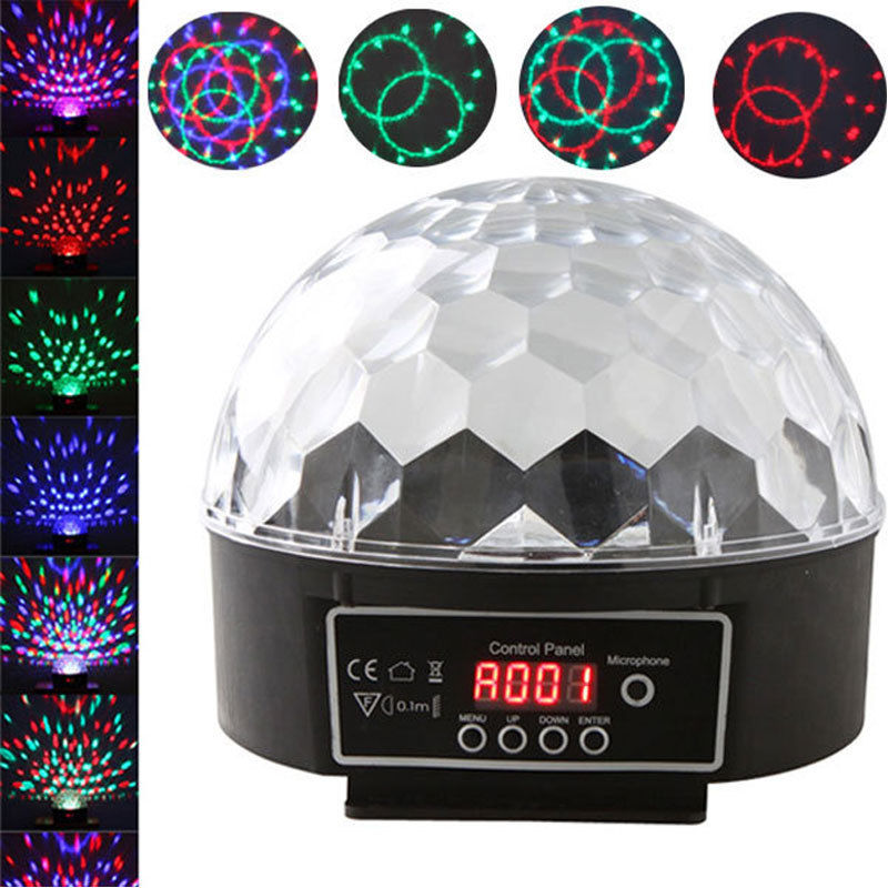 Crystal Magic Ball Led Stage Light Sound Control Modes 7 Colors 27W Stage Lighting Disco Laser Lamp for Party/ Disco/ DJ/ KTVCrystal Magic Ball Led Stage Light Sound Control Modes 7 Colors 27W Stage Lighting Disco Laser Lamp for Party/ Disco/ DJ/ KTV