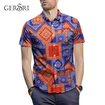 Gersri Men Shirt Summer Flower Print Beach Hawaiian Shirt Men Casual Short Sleeve Shirt Roman Style Men Travel Shirt фото