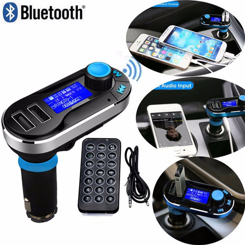BT66 Dual Portable USB Charger MP3 Player with Bluetooth Hands-Free Call FM Launcher Car Charger for iphone samsung galaxy s8