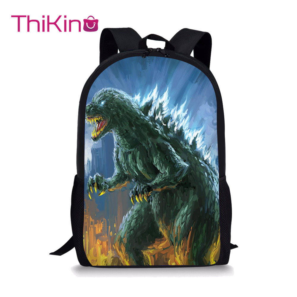 Thikin Godzilla School Bag for High Students Teens Backpack Boys Cool Summer Travel Package Shopping Shoulder Bag Women Mochila in Backpacks from Luggage Bags